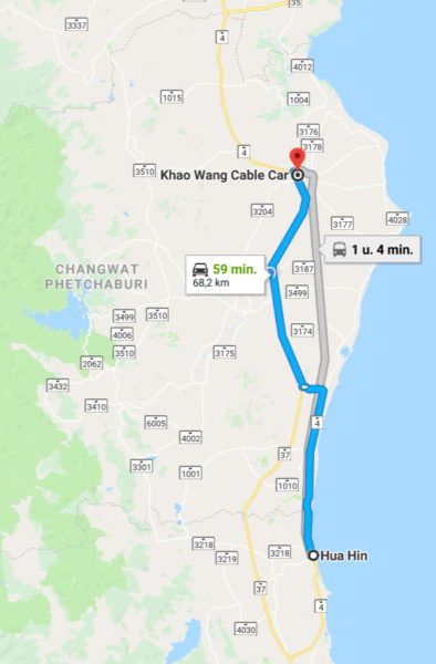 google map naar Khao Wang Petchaburi