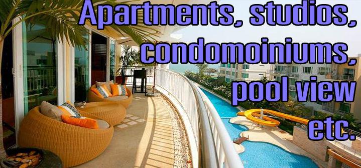 rent big apartments, studios or small condos